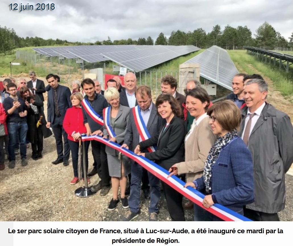 inauguration 1er parc solaire citoyen Luc-sur-Aude