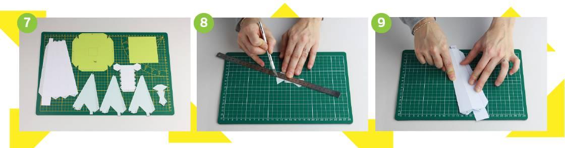 Illustration étapes 7 à 9 pour construction de l'éolienne en papier