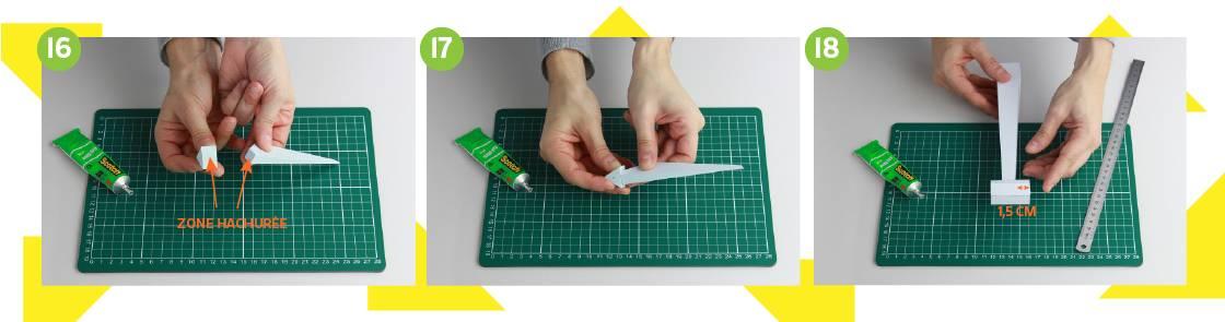 Illustration étapes 16 à 18 pour construction de l'éolienne en papier