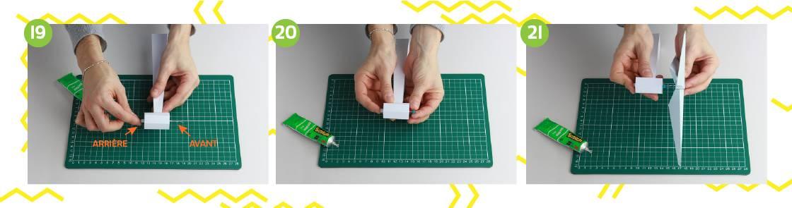 Illustration étapes 19 à 21 pour construction de l'éolienne en papier