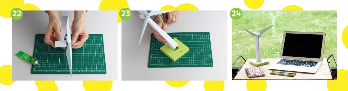 Illustration étapes 22 à 24 pour construction de l'éolienne en papier