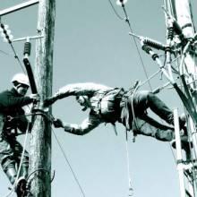 soleil du midi travail sur ligne électrique
